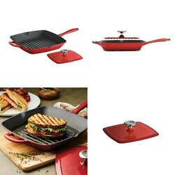 Gourmet 11.5 In. Enameled Cast Iron Grill Pan In Gradated Red With Bacon Press