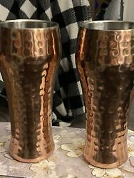 2 Membersmark Double Walled Stainless Hammered Copper Plate 24 Oz Pilsner Ea