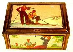Big Size Art Deco Sports Lady Golf Tennis Skiing Swimming Biscuit Tin