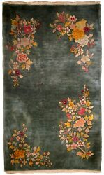 Handmade Antique Art Deco Chinese Rug 2.10and039 X 4.10and039 89cmx150cm 1920s - 1b620