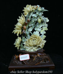 17.2 Chinese Natural Xiu Jade Carving Fengshui Flower Statue Sculpture