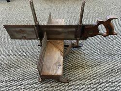 Antique Cast Iron Miter Mitre Box And Saw Patent 3-15-1904 E C Atkins And Co Stanley