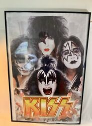 Kiss Rock Band Rock Music Framed Poster 25in By 37in Black Frame Kiss
