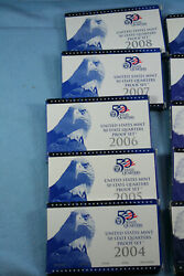 1999 - 2008 10 Year Run Of State Quarters Proof Sets Us Mint Packaging