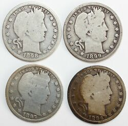 4 Coin Lot 1896-1899 Silver Barber Quarters 25c Us Type Coins Philadelphia 1
