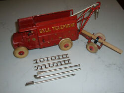 1930and039s- Hubley Cast Iron- Bell Telephone Mack Truck- And Tools And Accand039s-9.25-- Toy