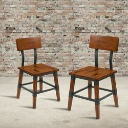 Durable 2 Pack Rustic Antique Walnut Industrial Wood Dining Chair