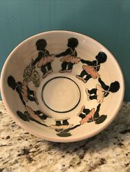 African American Black Americana Children's Cerealbowl Studio Pottery By Phyllis