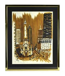 """Eleanor King Hookham """"water Tower Place - Chicago"""" Coffee Ink L/e Lithograph"""