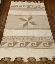 Vintage 1970's Large Heavy Wool Mexican Rug Wall Hanging 85 X 50