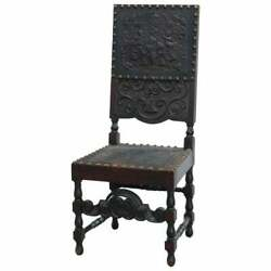 Antique Baroque Style Carved Oak And Tooled Leather Desk Side Chair Circa 1900