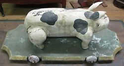 Antique Pig Carved Painted Folk Art Wooden Pull Toy