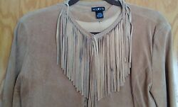 Women#x27;s Large Mix It Fringed Leather Top