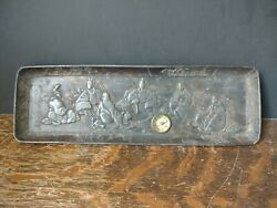 Antique Japan Japanese Bronze Repousse Dish Tray With Compass
