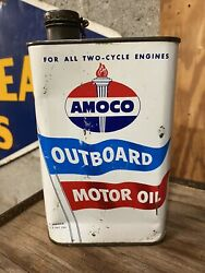 Vintage Rare 1960s Amoco Outboard Motor Oil 1 Qt Advertising Tin Can With Lid