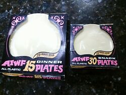 Vintage Aiwf 40 Snack And 30 Dinner Plates Thin Plastic In Box Day Glow 1970's