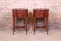 Imperial Hepplewhite Flame Mahogany Leather Top Nightstands, Pair