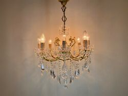 Antique Vintage Brass And Crystals Italian Chandelier Lighting With 8 Arms Fixture