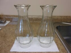 2 Beautiful Antique Vintage Thick, Ribbed, Clear Glass Chimneys