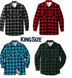 Kingsize Menand039s Big And Tall Flannel Shirt Sherpa Lined Plaid Premium Jacket