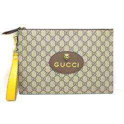 Auth Neo Vintage Gg Supreme Pouch 473956 Pvc Leather Clutch Bag