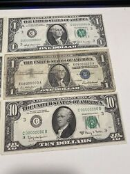3 Match Binary Upside Down 1969 10and5and1 Dollar Super Low Number 00000080 Unc!