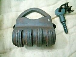 Old Iron Padlock Lock With Screw Type Key Unusual And Early Shape
