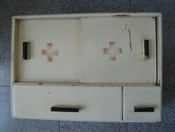 Old Vintage Wooden Red Cross Medicine Cabinet Apothecary Wall Chest