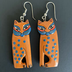 Vintage Cat Siamese Earrings Dangle Drop Hand Painted Lightweight Cat Lover Gift
