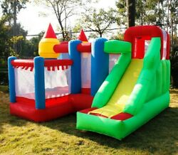 Inflatable Bounce House Safety Three Play Areas Kids Castle Slide With Blower