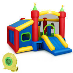 Safe Inflatable Bounce House Kids Two Play Areas Slide Bouncer Castle Air Blower