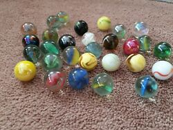 Joblot Of Old 29 Vintage Large Marbles Rare Styles Pontin Marks Stunning Unique
