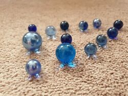 Joblot Of Old 13 Vintage Marbles Rare Styles Pontin Marks Stunning Unique Blue