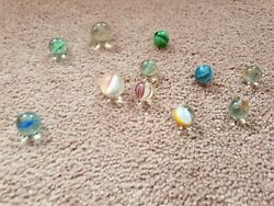 Joblot Of Old 11 Vintage Marbles Rare Styles Pontin Marks Stunning Unique Onion