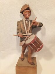 Late 1960s Revolutionary War Drummer Wood Carving By H. Hultquist