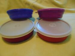 Tupperware Microwave Reheatable Impressions Cereal Bowls W/lids, Set Of 4