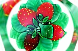 Magnificent Saint Louis Faceted Strawberry Art Glass Paperweight Box And Coa