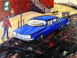 Arthur Robins Original Oil Painting Car Cat And Woman New York City Cityscapes