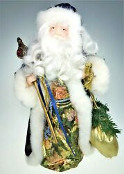 """16"""" Santa Claus Father Christmas Tree Topper Blue Coat Centerpiece Holiday Decor"""