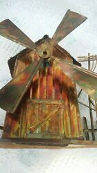 Metal / Copper Art Windmill House Barn Music Box - Working You Light Up My Life