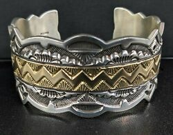 Heavy Native American 14k And Sterling Silver Cuff Bracelet Signed Mark Antia💥