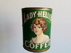 Vintage Lady Hellen Coffee Tin 1lb Empty Can Green Lithograph Label Flapper Girl