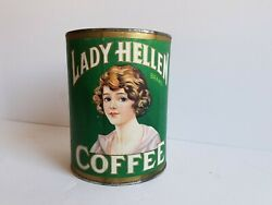 Vintage Lady Hellen Coffee Tin 1lb Used Can Green Lithograph Label Flapper Girl