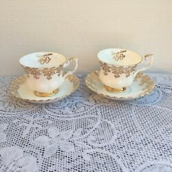 2 Vintage Royal Albert Gold 50th Anniversary Tea Cups And Saucers 2626