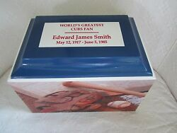 105 Baseball Sports Fan Funeral Memorial Cremation Urn -cubs Colors And Free Text