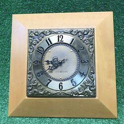 Vintage General Electric Wall Clock Model 2057c Brass Face Wood Trim Mid-century