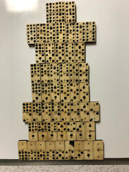 Antique 1800's Hand Made Bone Dominoes Double Nine And Dovetail Box