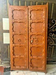 Old Vintage Rich Patina Handmade Iron Work Solid Wooden Two Panel Door / Gate