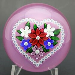 Beautiful Saint Louis Floral Valentine Bouquet Art Glass Paperweight Boxed And Coa