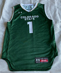 Colorado State Rams Under Armour Basketball Jersey 1 Green Men's Small Loose